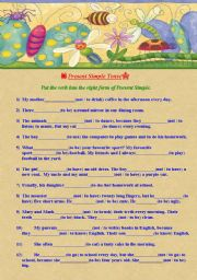English Worksheet: Present Simple Tense. Positive and Negative Sentences.