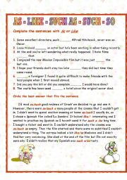 English Worksheet: As, Like, Such as, So and Such