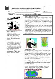 English Worksheet: panda bear