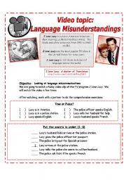 English Worksheet: Youtube:  Language Misunderstandings: I Love Lucy [2 pages w/ exercises & discussion questions]