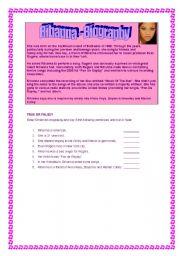 English Worksheets: Rihanna - Biography
