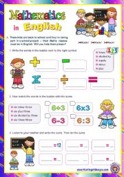 Mathematics in English  - Fun with numbers  for elementary students
