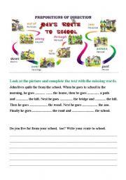 prepositions of direction route to school esl worksheet by adryenn. Black Bedroom Furniture Sets. Home Design Ideas
