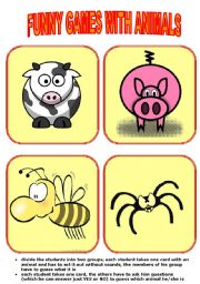 English Worksheet: funny games with animals