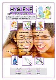 English Worksheet: Hygiene and health worksheet