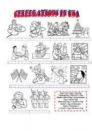english worksheet celebrations in the usa. Black Bedroom Furniture Sets. Home Design Ideas