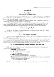 English Worksheets: Writing Lesson 1