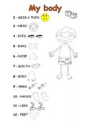 English Worksheet: Body Game