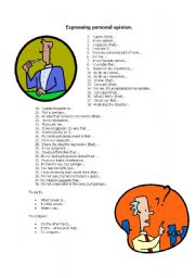 English Worksheet: Expressing personal opinion
