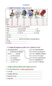 English Worksheet: Verb CAN
