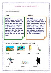 English worksheet: sSIMPLE PAST ACTIVITIES