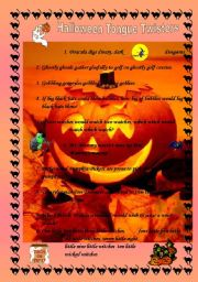 English Worksheets Halloween Tongue Twisters
