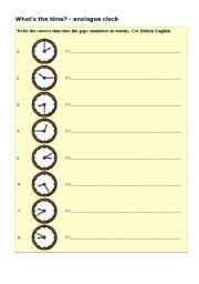 English Worksheets: What�s the tijme