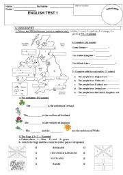 English Worksheet: test on the British Isles, nationalities, emblems and flags