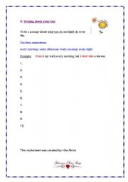 English Worksheets: Every Day Activites- Writing Sentences