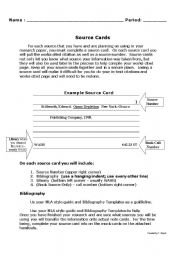 English Worksheets: Source Cards for a Research Paper