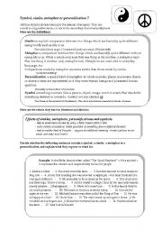 English Worksheet: SYMBOL  -  SIMILE  -  METAPHOR  -  PERSONIFICATION