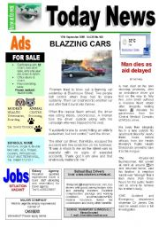 English Worksheets: Newspaper Reading Comprehension