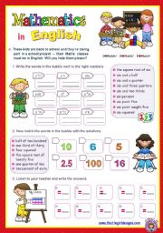 Mathematics in English  -  Fun with Numbers for Upper Elementary and Lower Intermediate students