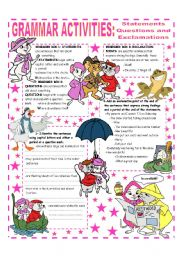 English Worksheet: SENTENCES - QUESTIONS & EXCLAMATIONS - EASY GRAMMAR REFERENCE AND ACTIVITIES
