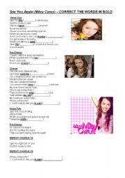 English Worksheet: Miley Cyrus - See you again