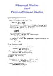 English Worksheet: Phrasal Verbs and Prepositional Verbs