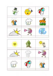 English Worksheet: Bingo- weather