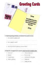 English Worksheets: ReadingGreeting Card