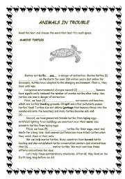 English Worksheets:  Animals in trouble