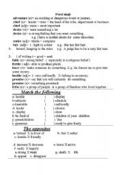 English Worksheets: definitions & exercises