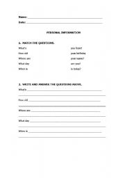 english worksheets personal info. Black Bedroom Furniture Sets. Home Design Ideas