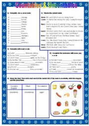 English Worksheet: Countables & Uncontables Nouns: A / An / Some / Any
