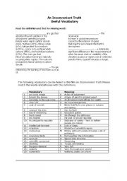English Worksheet: an inconvenient truth vocabulary