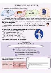 English Worksheet: OUR DREAMS AND WISHES