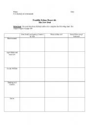 English Worksheets: FDR New Deal Chart