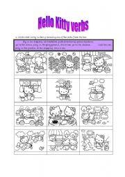 English Worksheet: Hello Kitty verbs matching