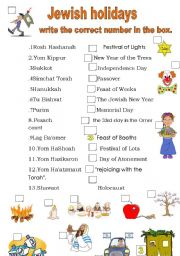 the jewish holidays names and their meanings esl worksheet by adva