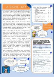 English worksheet: A RAINY DAY - READING COMPREHENSION