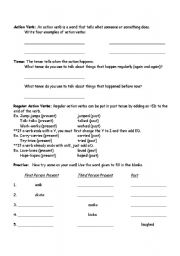 English Worksheets: Action Verb worksheet practice