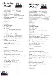 English Worksheet: Song - Green Day - 21 Guns