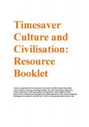English Worksheets: Timesavers Culture and Civilisation Resource Booklet