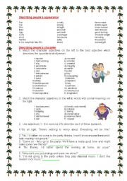 English Worksheet: Describing people´s appearance and character