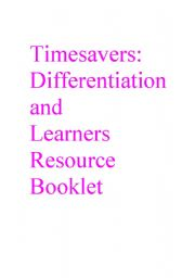 English Worksheets: Timesavers Differentiation and Learners Resource Booklet