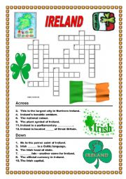English Worksheet: Ireland - crossword