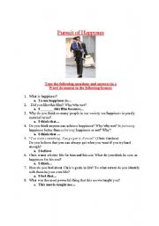 English Worksheet: Pursuit of Happyness Movie Questions