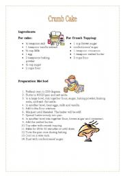 English Worksheets: Crumb cake
