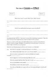 English Worksheet: Cause and effect sentences and paragraphs