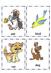 English Worksheet: Alphabet  flash-cards with Animals part 1 Aa-Tt