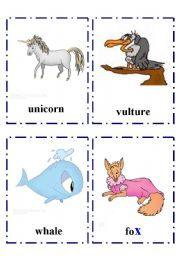 English Worksheet: Alphabet flash-cards with Animals part 2 Uu -Xx