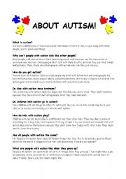 English Worksheets: Handout for kids (and adults) about Autism
